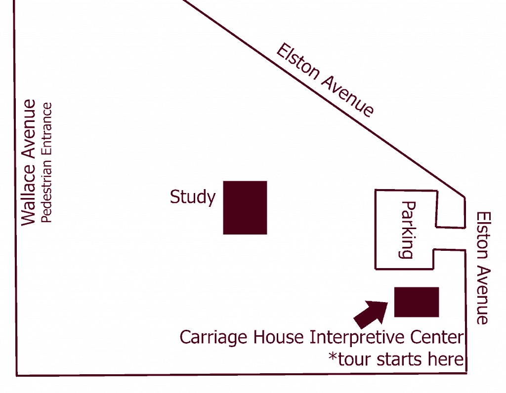 Map of General Lew Wallace Study Grounds and tour directions