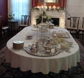 A table set for high tea at Christmas time