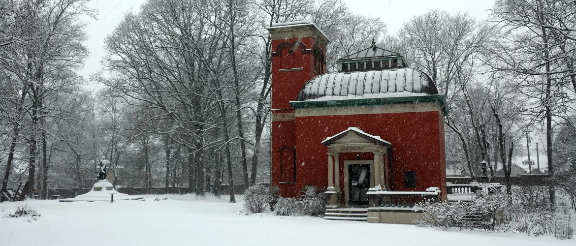 The Study building and Lew Wallace statue in the snow