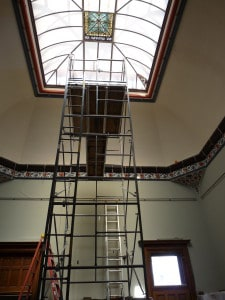 Scaffolding set up inside the General Lew Wallace Study & Museum for the interior paint restoration project