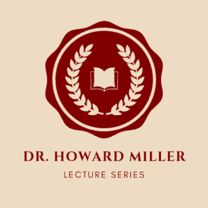 Logo of the Dr. Howard Miller Lecture Series: a wreath of laurel leaves surrounds a book